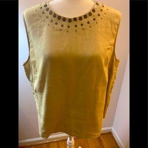 Laura Ashley linen sleeveless top, size XL